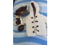 Marks and Spencer's 3piece baby boy cardigan hat n gloves set. 3-6months