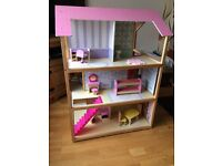 Dolls House - Double sided over 3 floors, includes approx 20 pieces of good quality wooden furniture