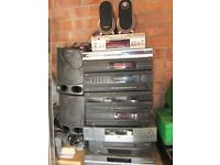 Several Hi Fi / Audio / DVD Players / Mini Disc / Speakers / VCR everything you see Attic Clearout