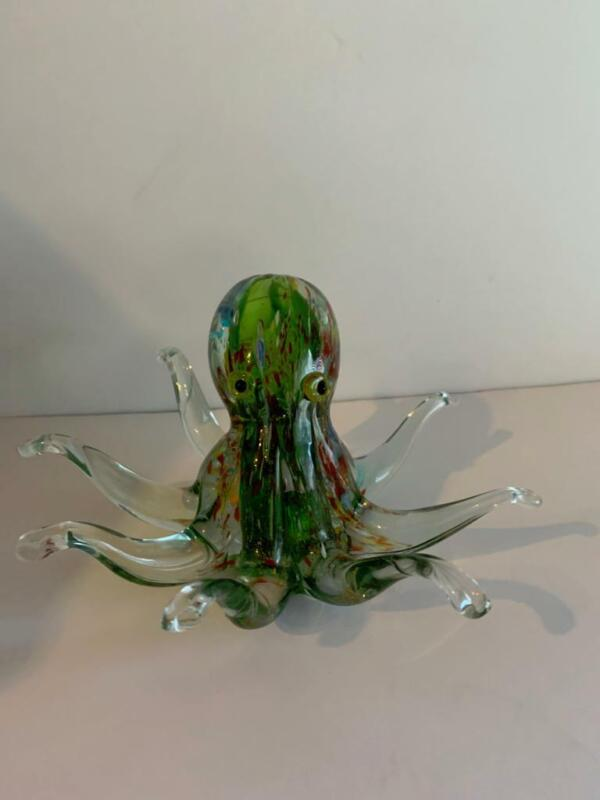 Glass Hand Blown Octopus Figurine Sculpture Colorful Art Murano?