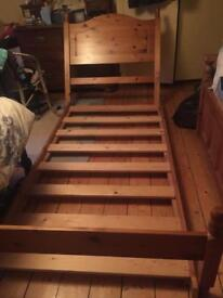 Pine 3ft Wide 6.5ft long Single Bed & Mattress (will also sell separately)