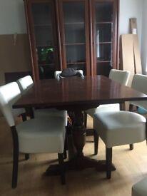 Vintage extending trestle leg dining table solid wood
