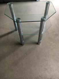 Glass and chrome 3 tier TV stand/entertainment unit