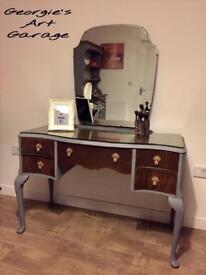 Unique fully refurbished vintage look dressing table in anthracite grey and medium oak varnish