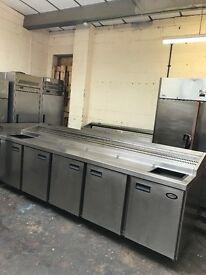 Foster commercial pizza topping fridge, 2.9 meter 5 doors preparation fridge
