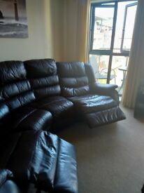 DFS brown leather reclining sofa good condition