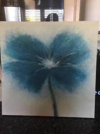 Blue/teal flower canvas picture