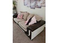 Two Seater and Three Seater Brown and beige Sofas