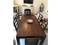 Designer rustic style oak dining table/6 chairs