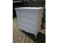 Ivory White Painted Antique French Style Chest Of 5 Drawers