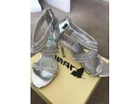 Size 2 silver diamanté sandals