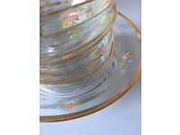 Vintage glass floral serving bowl and 6 small bowls