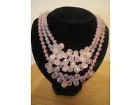 Lola Rose 3 tiered rose quartz necklace