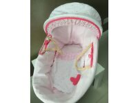 🎀 Baby Girl Moses basket with cover and 2 fitted sheets
