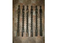 wooden spindles, 6 old, dark wooden spindles, lovely spiral carved wood