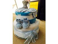 Beautiful Two Tier Baby Blue Nappy Cake