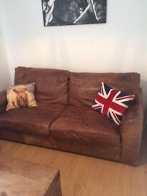 Vintage distressed brown leather Halo sofa bed