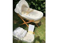 John Lewis Cream Waffle Moses Basket, Wooden Stand, Two Mattresses and Bedding