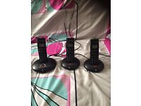 cordless phones set of 3 from BT trio with answering machine
