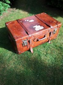 20s Art Deco Leather Suitcase, Orient Express Steamer Trunk...