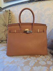 Women's Leather Handbag with Gold Hardware Birkin Style