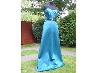 Veromia Bridesmaid UK 12 Handmade Teal Gorgeous Dress Beautiful Beaded Details
