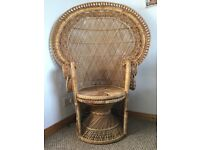 XXL Vintage Retro Rattan Fan Back Peacock Chair