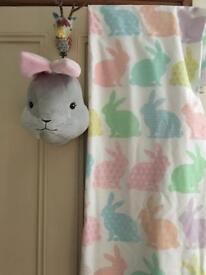 Bunny rabbit curtains and bunny head wall hanging