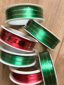 6 x Green and Red Ribbon Rolls. 3.5 m long ribbon approx.
