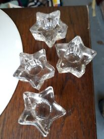 Taper Candle candlesticks holders - glass star set of 4