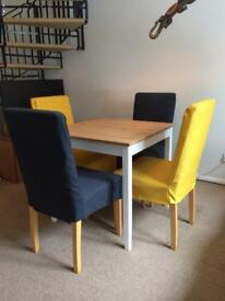 4 dining chairs with HENRIKSDAL covers