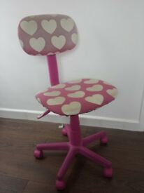 DESK CHAIR - children's pink with white hearts. Used condition.