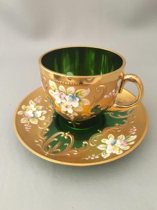 VTG CZECH BOHEMIAN GOLD GILT FLOWER GREEN GLASS TEA COFFEE CUP & SAUCERS SET