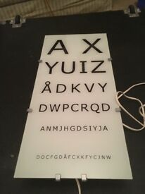 Opthamological test chart/ Ikea wall light /lamp GYLLEN eye test optician