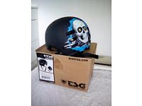 tsg skateboard helmet with skull design still boxed with foam inserts