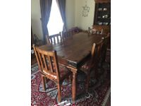 William Sheppe, Jali and Thaket furniture. Dining table with 6 chairs and Dresser