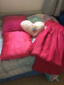 Cerise pink curtains and cushions