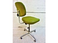 Tansad Vintage Industrial Retro Machinists Swivel Chair on Wheels in Great Original Condition