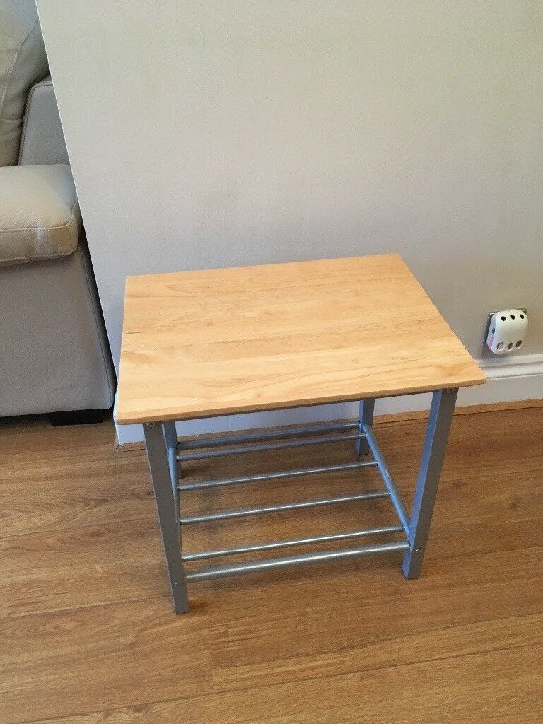 Small Beech and Chrome Table