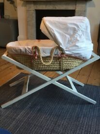 Mamas and Papas Moses basket, stand and mattress for sale