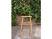Rare vintage circa 1950s pine square child's folding stool w/ red turned knobs