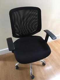 Office chair - black, mesh back, adjustable - as new