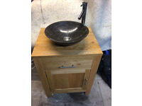 Oak cabinet with marble basin