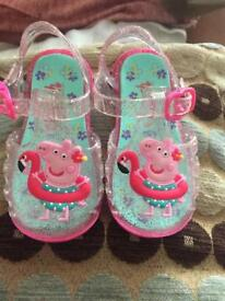 Toddler Size 3 peppa pig jelly shoes