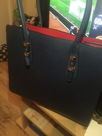 Blue Salvatore Ferragamo Lux Leather and Sleek craftsmanship handbag