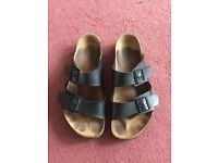 Birkenstock - Arizona, Black Leather, Birko-Flor, UK 11, Great Condition.