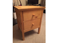 Solid Pine Bedside Table with 2 Drawers