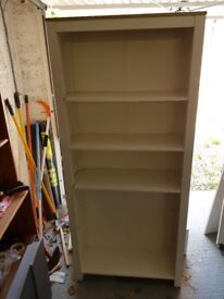 White book shelf with oak effect top
