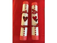 2 valentines crackers handmade
