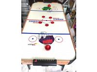 Foldable free standing large air hockey table. In good working condition with only cosmetic damage